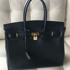 Beautiful Large Birkin-Style Bag Black Leather